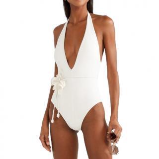 Zimmermann Corsage Flower Belted Halterneck Swimsuit