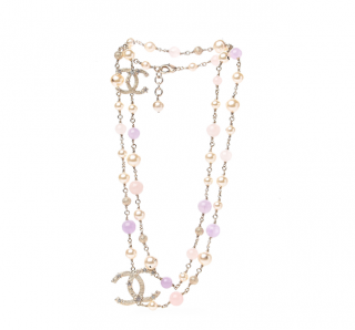 Chanel Gold Tone Faux Pearl & Pastel Beaded CC Stars Necklace