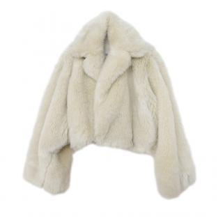 Toga Archives Ecru Faux Fur Cropped Coat