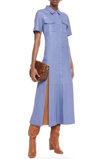 Stand Studio Dark Lilac & Cinnamon Jordan Leather Shirt Dress