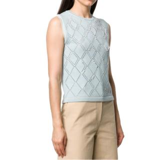 Alexa Chung faux-pearl Embroidered sleeveless jumper