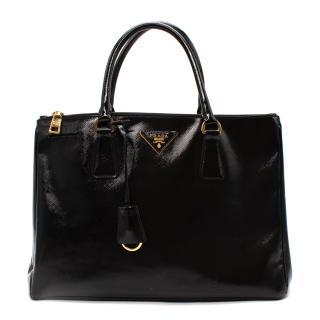 Prada Black Glossy Double Zip Galleria Bag