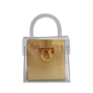 Ferragamo Perspex Top Handle Gancini Pouch with Gold Leather Insert