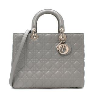 Dior Cannage Calfskin Grey Large Lady Dior Bag