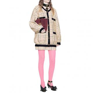 Gucci Cotton-blend Pastel Check Boucl�-tweed Bomber Jacket