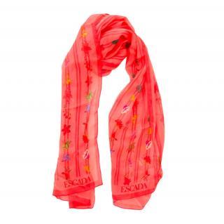 Escada orange silk floral print scarf