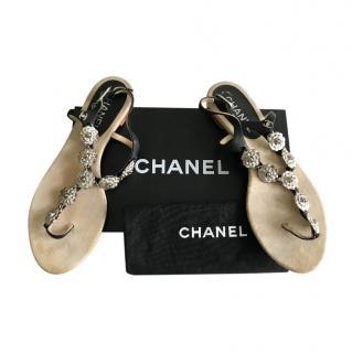 Chanel Camellia Embellished Flat Thong Sandals
