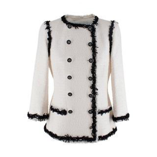 Chanel White & Black Tweed Fringed Trim Double Breasted Jacket