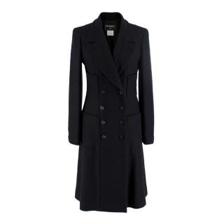 Chanel Black Wool Blend Tweed Double Breasted Classic Coat