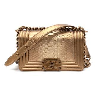 Chanel Gold Python Small Boy Bag