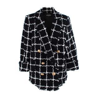 Balmain Double Breasted Black & White Tweed Blazer