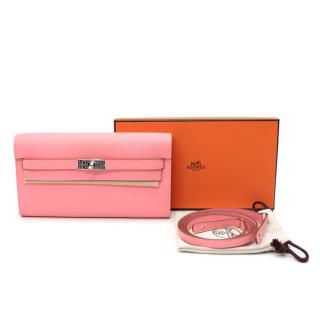 Hermes Rose Confetti Epsom Leather Kelly Classique to Go Wallet