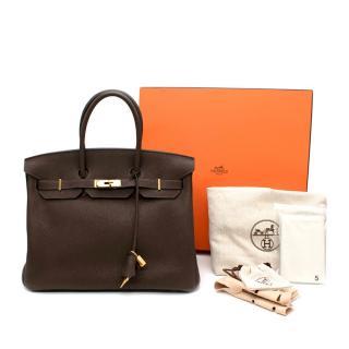 Hermes Togo Leather Ebene Birkin 35 GHW