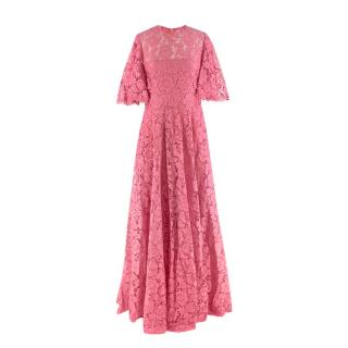 Valentino Pink Floral Lace Gown - Current Season