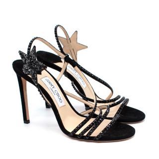 Jimmy Choo Lynn Black Suede Star Embellished Sandals