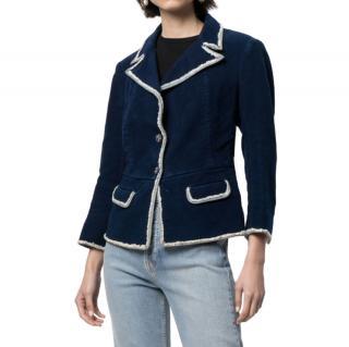 Chanel Blue Denim Distressed Trim Corset Back Blazer