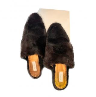 Max Mara Black Mink Fur Slides