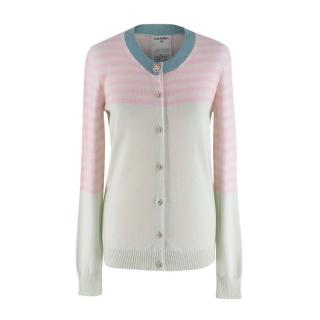 Chanel Striped Cashmere Pastel Pink & Green Cardigan
