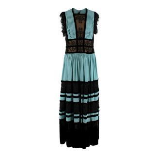 Elie Saab Turquoise & Black Velvet Lace Panelled Gown