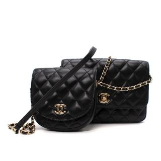 Chanel Black Lambskin Twin Shoulder Bag