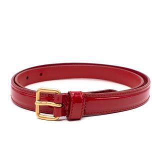 Miu Miu Dark Red Patent Leather Skinny Belt