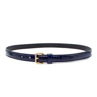 Miu Miu Blue Patent Leather Skinny Belt