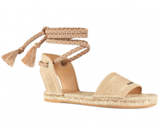 Dior Granville Embroidered Cotton Lace-Up Flat Sandals