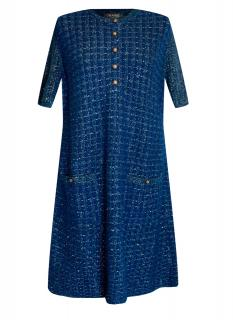Chanel Paris/Cosmopolite Lurex Knit Tweed Blue Dress