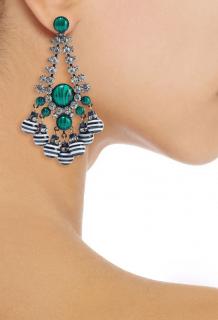 Elizabeth Cole malachite and crystal drop earrings