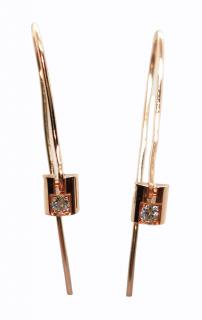 Bespoke rose gold and diamond drop earrings