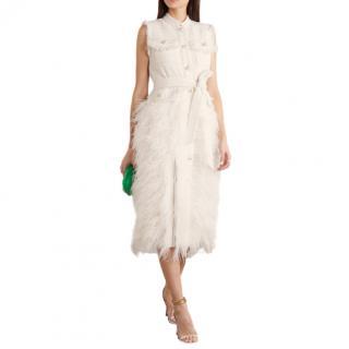 Huishan Zhang Wyatt Ivory Feather Tweed Pleated Crepe Dress