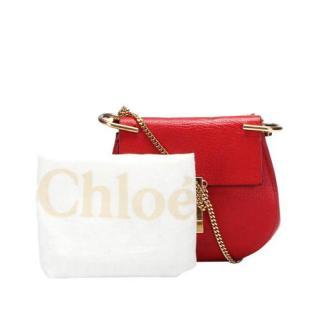 Chloe Red Leather Drew Crossbody Bag