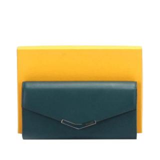 Fendi Blue Leather 2Jours Envelope Long Wallet
