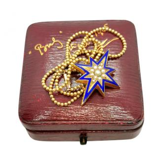 Bespoke Victorian Seed Pearl and Enamel star pendant and chain
