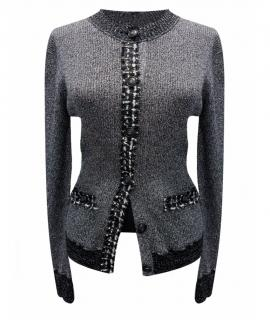 Chanel grey tweed trim cardigan jacket