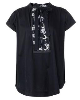 Sacai black Lace Up Embroidery Detail Flowy Top
