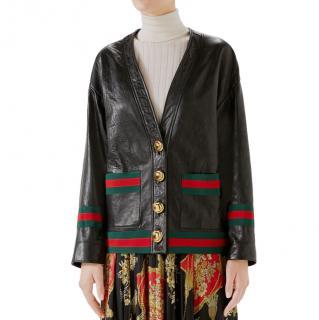 Gucci webb trimmed black leather cardigan/jacket/coat