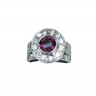 Bespoke natural Tourmaline and diamond cluster ring in white gold.