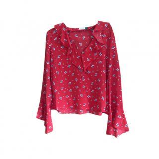 Rixo red ruffle silk top
