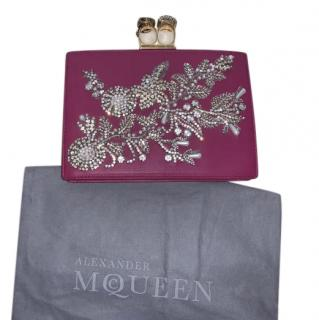 Alexander McQueen embellished nightshade pink nappa leather clutch