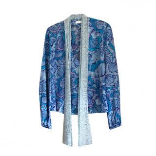 Rixo blue silk neck tie top