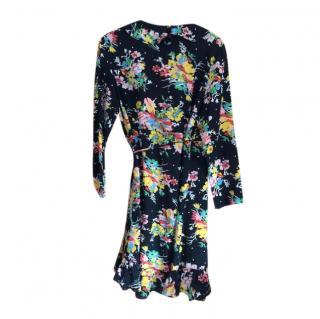 Rixo floral silk wrap dress