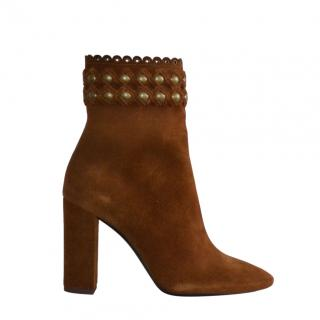 Saint Laurent brown suede Lou ankle boots