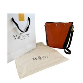 Mulberry orange and black shoulder bucket style tote bag