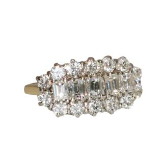 Bespoke emerald cut diamond cluster ring