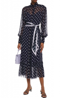 Zimmermann Navy Gathered Polka-Dot Silk-Georgette Midi Dress