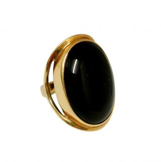 Bespoke vintage agate and yellow gold ring