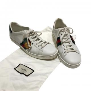 Gucci white leather pineapple motif trainers