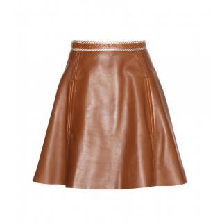 Acne Studios Brown Larissa leather skirt with snakeskin trim