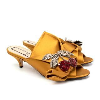 No.21 Mustard Yellow Satin Cherry Crystal Embellished Mules